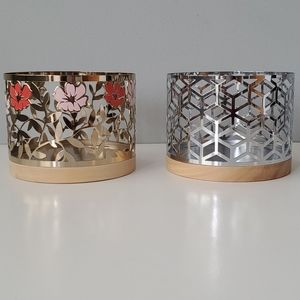 Set of 2 Yankee Candle Gold Floral Silver Chevron 3 Wick Candle Holders